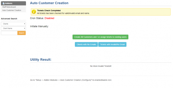 Screenshot - Auto Create Clients - WHMCS Addon